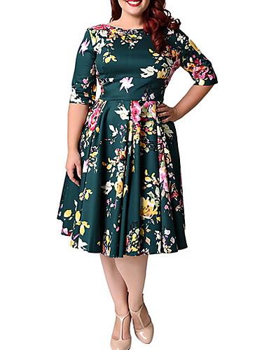 voordelige Grote maten jurken-Dames Grote maten Elegant A-lijn Jurk - Bloemen, Print Tot de knie
