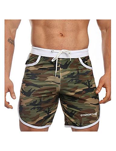 สำหรับผู้ชาย พื้นฐาน กางเกงขาสั้น กางเกง - เลขาคณิต สีน้ำเงิน ใบไม้สีเขียวที่มีสามแฉก สีเหลือง L XL XXL