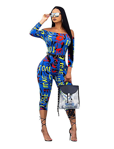 สำหรับผู้หญิง โบโฮ สีน้ำเงิน Romper, ลายตัวอักษร ดอกไม้ / รองเท้าผูกเชือก / ลายต่อ M L XL