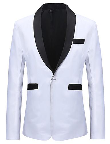 สำหรับผู้ชาย เสื้อคลุมสุภาพ, สีพื้น / ลายบล็อคสี ปกคอแบะของเสื้อแบบพึค ไหมสังเคราะห์ / เส้นใยสังเคราะห์ ขาว / สีดำ / เพรียวบาง