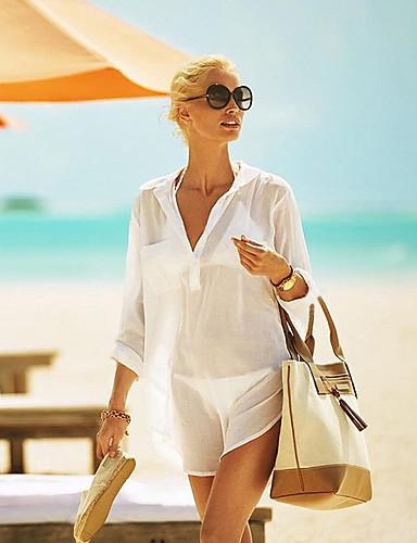 สำหรับผู้หญิง ขาว สีดำ รวมด้วย ชุดว่ายน้ำ - สีพื้น ขนาดเดียว ขาว