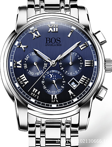 AngelaBOS สำหรับผู้ชาย นาฬิกาข้อมือ สายการบิน นาฬิกาอิเล็กทรอนิกส์ (Quartz) ที่มีขนาดใหญ่ สแตนเลส สีขาว 30 m ปฏิทิน เรืองแสง วันที่ ระบบอนาล็อก คลาสสิก ไม่เป็นทางการ แฟชั่น นาฬิกาตกแต่งข้อมือ Aristo