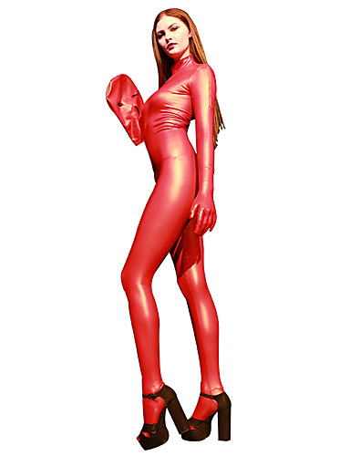 billige Zentai-Skinnende Zentai Drakter Cosplay Kostumer Catsuit Motorsykkel jente Voksne Lasteks Cosplay-kostymer Cosplay Halloween Dame Hvit / Gul / Rød Ensfarget Halloween Maskerade / Trikot / Heldraktskostymer