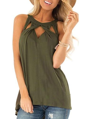 billige Dametopper-Bluse Dame - Ensfarget Militærgrønn