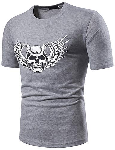 สำหรับผู้ชาย ขนาดของยุโรป / อเมริกา เสื้อเชิร์ต คอกลม กระโหลก ขาว