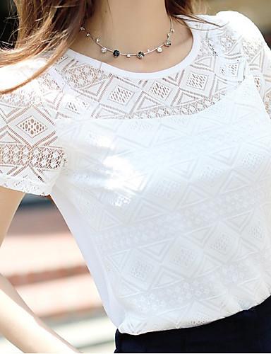สำหรับผู้หญิง เสื้อเชิร์ต ตารางไขว้ / ลูกไม้ปัก สีพื้น ขาว