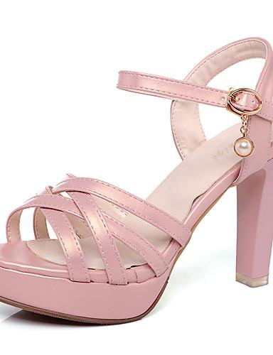 preiswerte Wunderschöne Sandalen für Damen-Damen PU Sommer Klassisch / Minimalismus Sandalen Blockabsatz Peep Toe Schwarz / Grün / Rosa / Party & Festivität