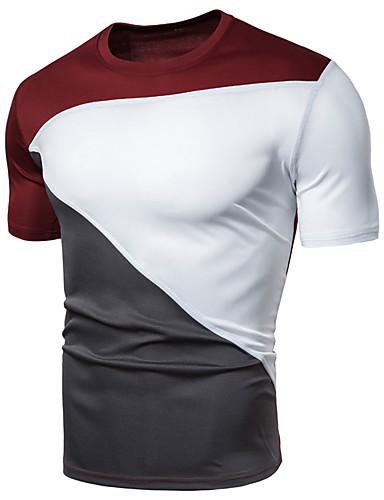 levne Pánské košile-Pánské - Jednobarevné / Barevné bloky Sport Základní EU / US velikost Tričko, Patchwork Do V Černá / Krátký rukáv