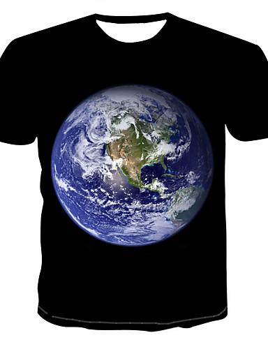 Ανδρικά T-shirt Πανκ & Γκόθικ - Βαμβάκι Γεωμετρικό / 3D Στρογγυλή Λαιμόκοψη Στάμπα Μαύρο / Κοντομάνικο