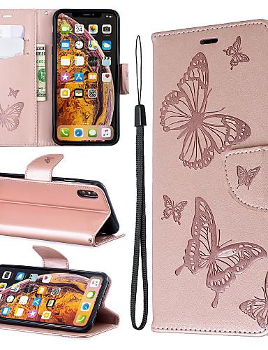 Case สำหรับ apple iphone xr xs max โทรศัพท์ case หนัง pu วัสดุลายนูนผีเสื้อแบบสีทึบโทรศัพท์ case สำหรับ iphone xs x 8 พลัส 7 พลัส 8 7 6 พลัส 6 วินาทีบวก 6 วินาที 6