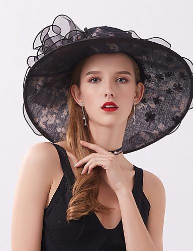 สำหรับผู้หญิง สีพื้น เส้นใยสังเคราะห์ ตารางไขว้ ซึ่งทำงานอยู่ พื้นฐาน สไตล์น่ารัก-หมวกปีกกว้าง ดวงอาทิตย์หมวก ทุกฤดู สีแดงชมพู ไวน์ สีกากี