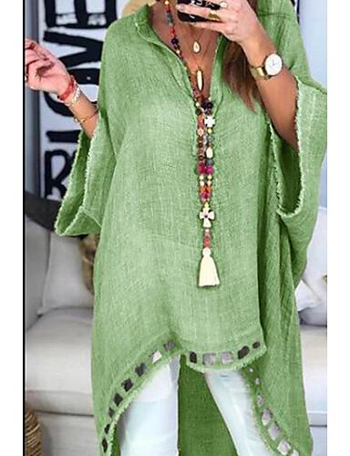 billige Skjorter til damer-V-hals Skjorte Dame - Ensfarget, Hul Dusty Rose Rosa / Vår / Sommer / Høst / Vinter