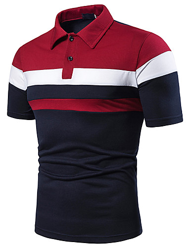 cheap Men's Polos-Men's Patchwork Polo Shirt Collar Red / Light gray / Navy Blue