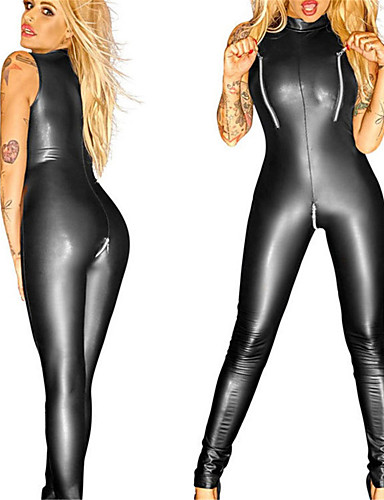 cheap Sexy Costumes-Women's Female Women Fifty Shades Adults' Unitards Jumpsuits Sex Zentai Suits Outfits Catsuit Solid Color Halloween Zentai Catsuit / Ladies / Spandex / Faux Leather