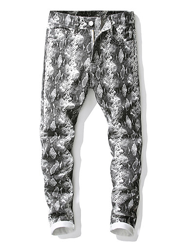 สำหรับผู้ชาย Punk & สไตล์โกธิค / ที่พูดเกินจริง กางเกง Chinos กางเกง - รูปแบบ คลาสสิค ฝ้าย ขาว 34 36 38