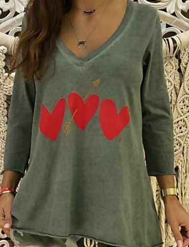 billige Dametopper-V-hals Store størrelser T-skjorte Dame - Geometrisk, Hjerte Stil / Trykt mønster Hvit / Vår / Sommer / Høst / Vinter