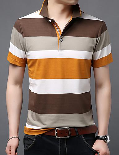 levne Pánská polo trika-Pánské - Proužky Polo Bavlna Košilový límec Vodní modrá