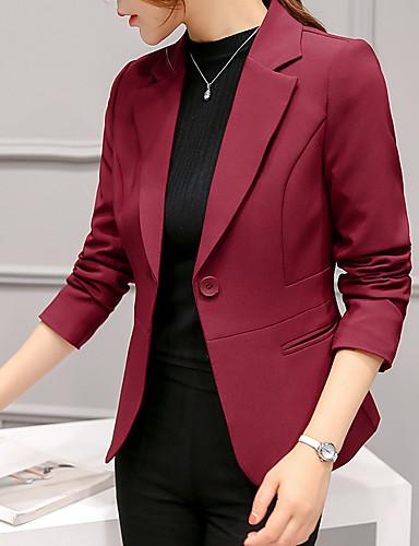 cheap Women's Blazers & Jackets-Women's Blazer, Solid Colored Notch Lapel Polyester / Spandex Wine / Light Blue / Royal Blue