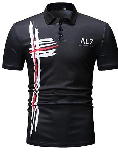 voordelige Herenpolo's-Heren Polo Letter Overhemdkraag Zwart