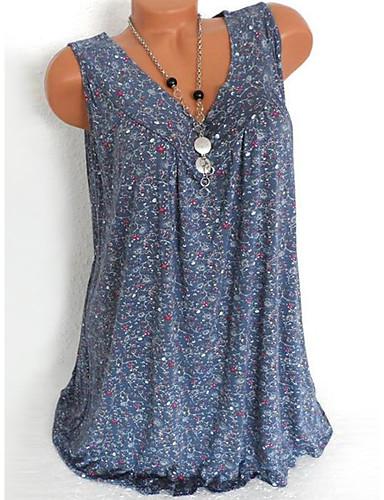 billige Dametopper-V-hals Store størrelser Skjorte Dame - Blomstret, Trykt mønster Svart