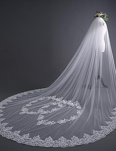ชั้นเดียว ความหรูหรา / หวาน ผ้าคลุมหน้าชุดแต่งงาน ผ้าคลุมหน้าในโบสถ์ กับ หัวใจ / เข็มกลัด 30 cm Tulle