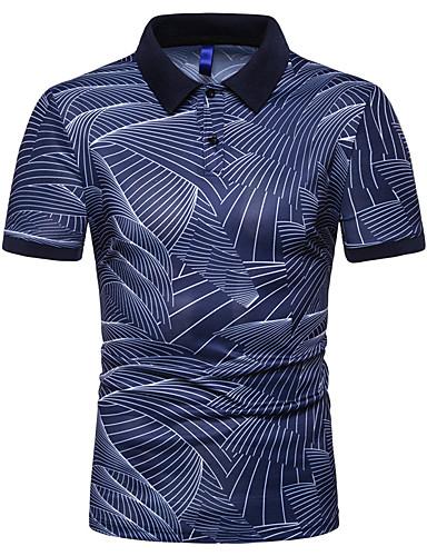abordables Vêtements Homme-Homme Polo Graphique Mince Hauts Coton Col de Chemise Blanche Noir Bleu Marine / Manches Courtes