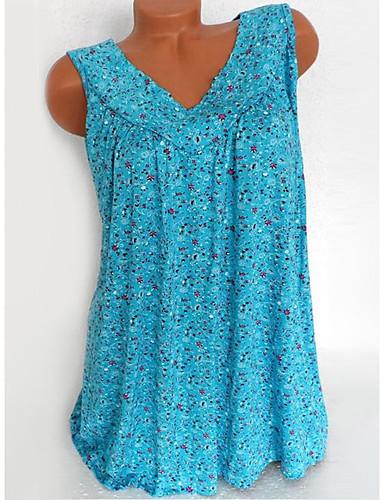 billige Skjorter til damer-V-hals Store størrelser Skjorte Dame - Blomstret, Trykt mønster Svart