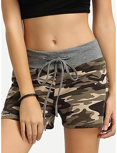 สำหรับผู้หญิง Sporty / Street Chic กางเกงขาสั้น กางเกง - Camouflage Color ลายต่อ / ลายพิมพ์ ฝ้าย สีเทา S M L