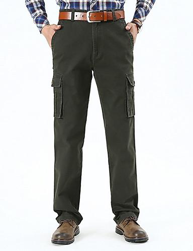 สำหรับผู้ชาย Street Chic กางเกง Chinos กางเกง - สีพื้น ใบไม้สีเขียวที่มีสามแฉก สีดำ สีกากี 38 35 42