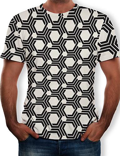 preiswerte Herren T-Shirts mit 3D-Druck-Herrn Geometrisch T-shirt, Rundhalsausschnitt Druck Weiß