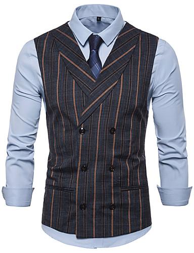 สำหรับผู้ชาย ขนาดของยุโรป / อเมริกา เสื้อกั๊ก ปกคอแบะของเสื้อแบบผ้าคลุม เส้นใยสังเคราะห์ สีดำ / อูฐ / สีน้ำเงินกรมท่า