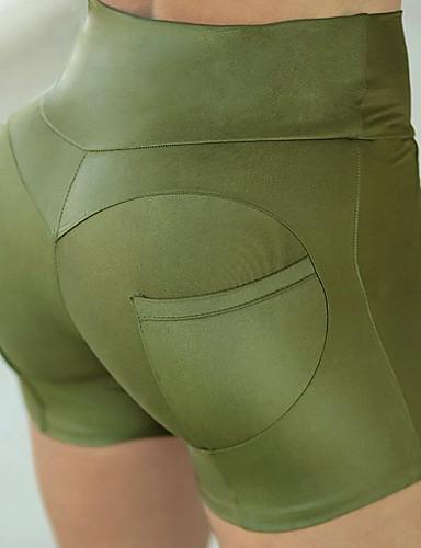 สำหรับผู้หญิง Street Chic เพรียวบาง กางเกงขาสั้น กางเกง - สีพื้น คลาสสิค เอวสูง สีดำ สีม่วง สีบานเย็น M L XL