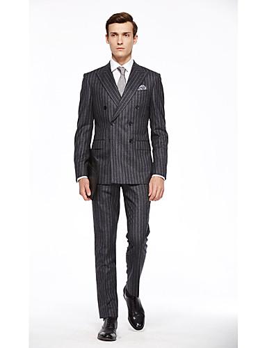 preiswerte Kleider & Accessoires für die Semesterferien-Dark-Gray Kariert Weite Passform Wolle Anzug - Steigendes Revers Zweireihig 6 Knöpfe