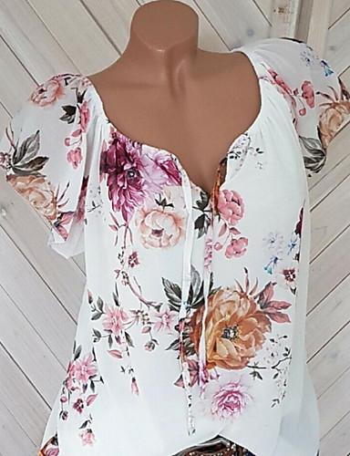 สำหรับผู้หญิง ขนาดพิเศษ เสื้อสตรี รูปแบบลายดอกไม้ / ผ้าชีฟอง / ลายพิมพ์ คอวี ลายดอกไม้ ขาว / ฤดูใบไม้ผลิ / ฤดูร้อน / ตก / ฤดูหนาว