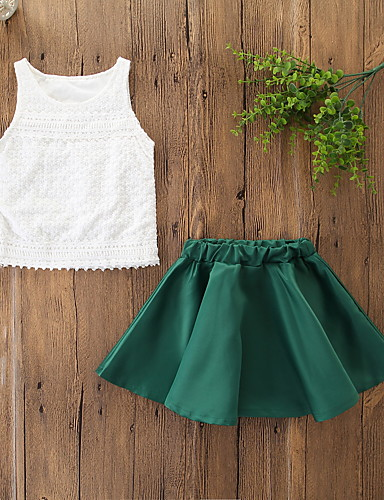 ทารก เด็กผู้หญิง ซึ่งทำงานอยู่ / พื้นฐาน สีพื้น ลูกไม้ เสื้อไม่มีแขน ปกติ ฝ้าย ชุดเสื้อผ้า ใบไม้สีเขียวที่มีสามแฉก / Toddler