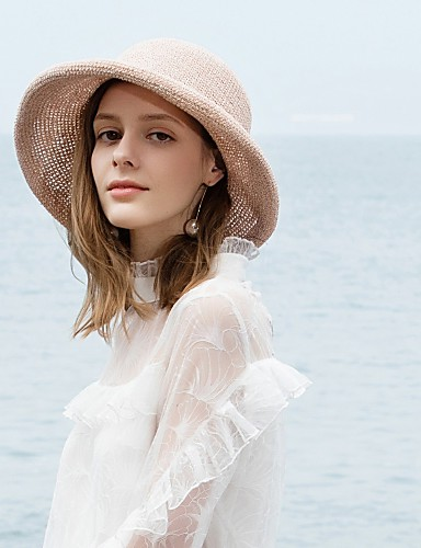 เส้นใยธรรมชาติ หมวกฟาง กับ ปมผ้า 1pc ที่มา / สวมใส่ทุกวัน หูฟัง