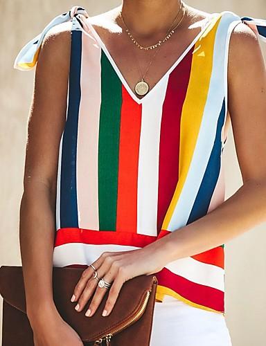 billige Dametopper-V-hals Bluse Dame - Stripet Regnbue