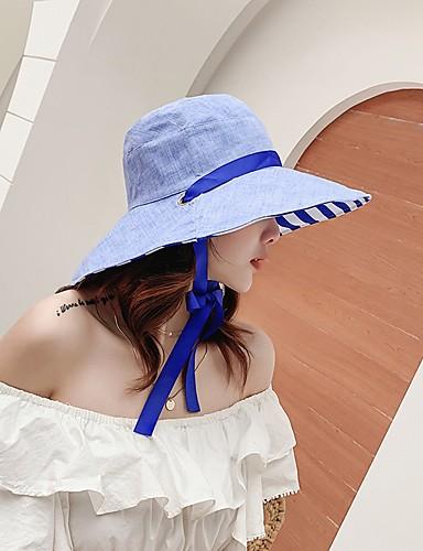 สำหรับผู้หญิง ลายแถบ ฝ้าย พื้นฐาน-ดวงอาทิตย์หมวก สีน้ำเงิน สีแดงชมพู