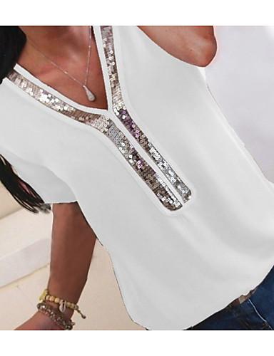 billige Dametopper-V-hals Store størrelser T-skjorte Dame - Fargeblokk, Paljetter / Chiffon / Glimmer Fuksia / Vår / Sommer / Høst