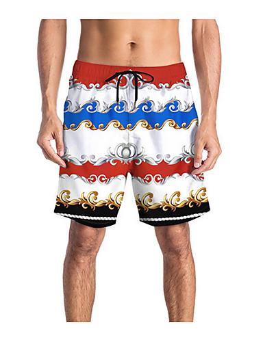 สำหรับผู้ชาย พื้นฐาน กางเกงขาสั้น กางเกง - 3D ขาว L XL XXL