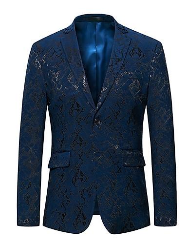 voordelige Herenblazers & kostuums-Heren Blazer Sjaalrevers Polyester blauw / Zwart / Slank