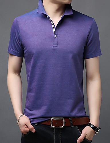 สำหรับผู้ชาย Polo ฝ้าย คอเสื้อเชิ้ต สีพื้น สีน้ำเงิน