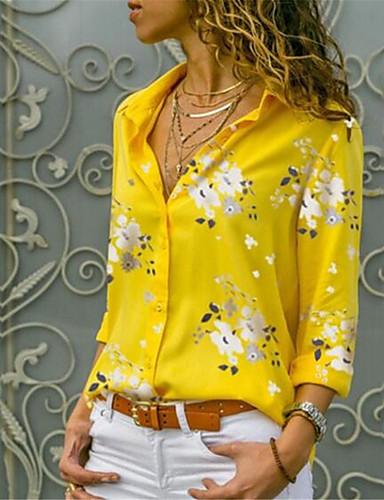 billige Dametopper-Bomull Skjortekrage Skjorte Dame - Blomstret, Trykt mønster Gatemote Lyseblå / Vår