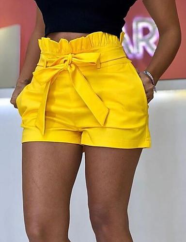 สำหรับผู้หญิง พื้นฐาน ขนาดพิเศษ หลวม กางเกงขาสั้น กางเกง - สีพื้น สีเหลือง สีน้ำเงิน ทับทิม S M L