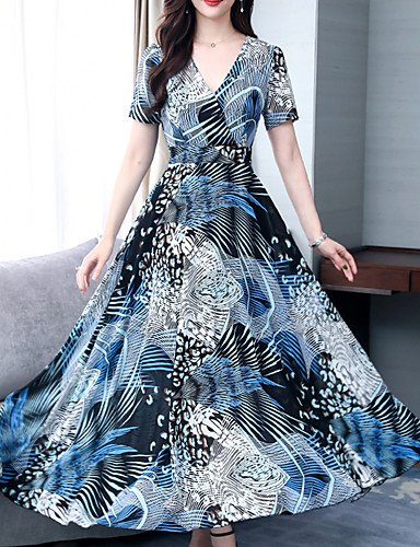 สำหรับผู้หญิง โบโฮ Sophisticated รูปตัว เอ ปลอก แต่งตัว - ลายพิมพ์, ลายดอกไม้ midi