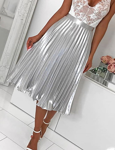 cheap Women's Clothing-Women's A Line Skirts - Solid Colored Pleated Silver Blushing Pink M L XL