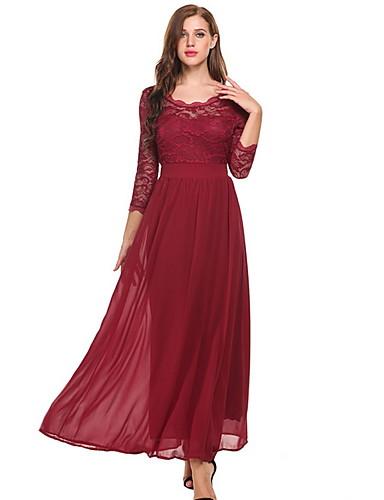 levne Maxi šaty-Dámské Základní Štíhlý Šifón Šaty - Jednobarevné, Tisk Maxi