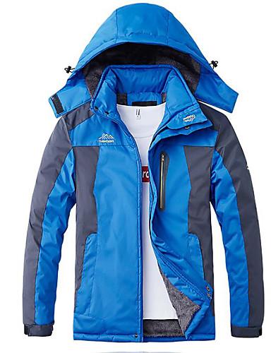 levne Pánské kabáty a parky-Pánské Jednobarevné Větší velikosti Standardní S vycpávkou, POLY Černá / Armádní zelená / Vodní modrá L / XL / XXL / Štíhlý