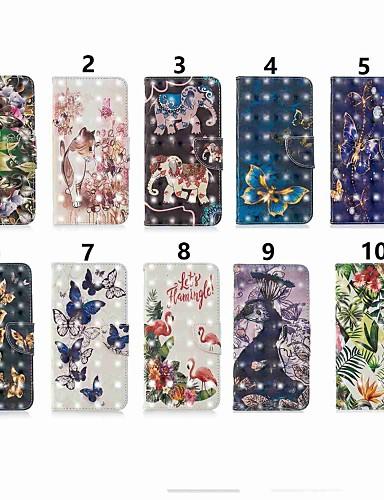 Case สำหรับ Samsung Galaxy J6 (2018) / J6 Plus / J4 (2018) Wallet / Card Holder / Flip ตัวกระเป๋าเต็ม Butterfly / สัตว์ / การ์ตูน Hard หนัง PU