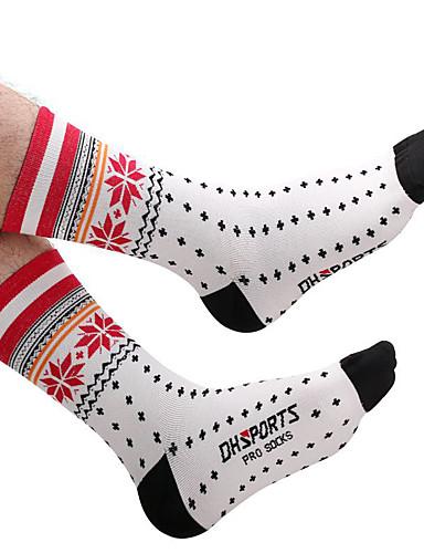 ราคาถูก Sport Socks-สำหรับผู้ชาย สำหรับผู้หญิง ถุงเท้าสำหรับวิ่ง ถุงเท้ากีฬา / ถุงเท้ากีฬา ถุงเท้าขี่จักรยาน การอัด ถุงเท้า ระบายอากาศ สบาย แดง ฤดูหนาว จักรยานใช้บนถนน จักรยานปีนเขา วิ่ง ยืด / ขี่จักรยานปีนเขา